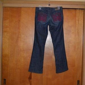 William Rast Dark Distressed Boot Cut Jeans 27